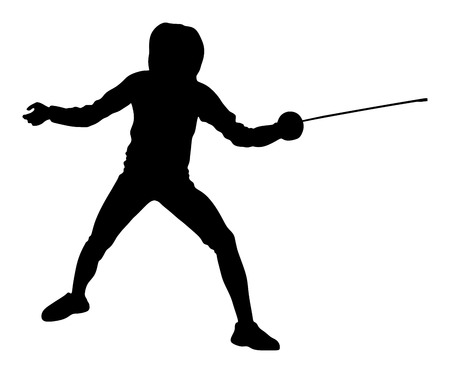 footwork: Swordplay black shadow. Fencing vector silhouette. Fencing competition event.