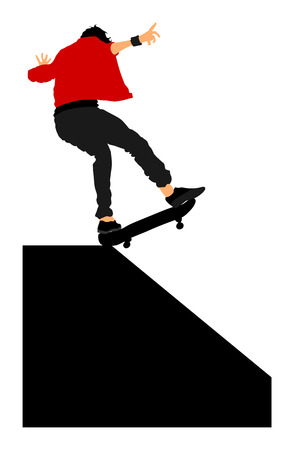 skateboard park: Extreme sport game, skateboarder in skate park, air jump trick. Skateboard vector illustration isolated on white background. Outdoor urban action.