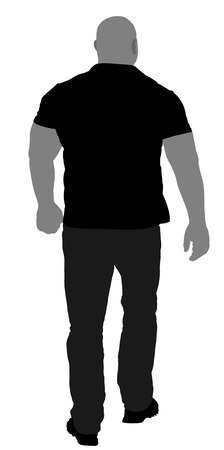 stanchion: Bouncer walking vector silhouette illustration. Security Guards nightclub. Strong man walking.