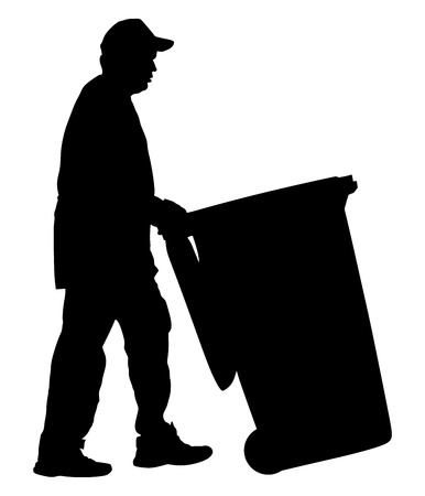 City sanitation worker man with trash can vector silhouette illustration isolated on background. Cleaning street, cleaner man.