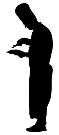 Illustration de silhouette vecteur chef isolé sur fond blanc. Cuisiner au travail au restaurant. Vecteurs