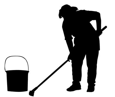 Dienstmeisje schonere vector silhouet illustratie geïsoleerd op een witte achtergrond. Schoonmaakster. Floor zorg en schoonmaakdiensten met het wassen mop in steriele fabriek of schoon hospital.Cleaning service. Stock Illustratie