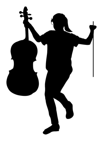 cellist: Happy girl graduating music school of cello vector silhouette illustration. Young cellist with cello and fiddle bow in hands. Illustration