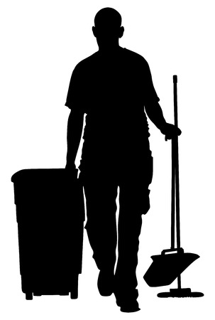 bioclean: Floor care and cleaning services with washing mop in sterile factory or clean hospital. Cleaning man service vector silhouette illustration.  trash bin with worker cleaning the road background.