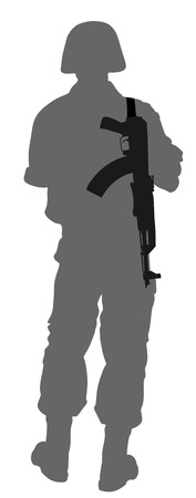 Army soldier's silhouette vector with rifle isolated on white background. (Memorial day, Veteran's day, 4th of july, Independence day).