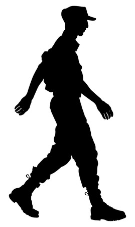Army soldiers ceremony walking silhouette vector isolated on white background. (Memorial day, Veterans day, 4th of July, Independence day). Illustration