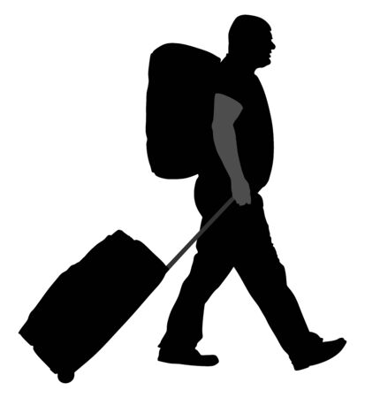 Tourist man traveler carrying his rolling suitcase vector silhouette illustration isolated on white background. Passenger with many bags isolated. Man passenger with backpack waiting taxi for travel. Stock Illustratie