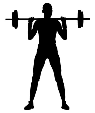 aerobics class: Fitness instructor vector silhouette illustration isolated on white background. Sport, training, gym and lifestyle concept. Dancer silhouette vector.  young woman with barbell flexing muscles and making shoulder press squat in gym, vector silhouette illus Illustration