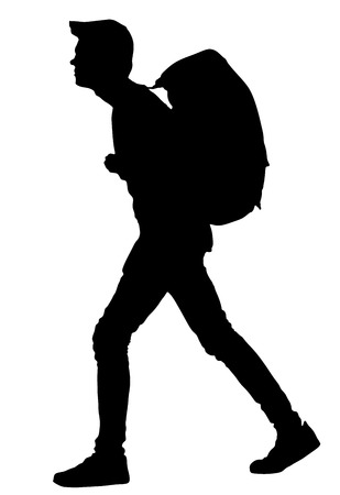 Tourist with backpack vector silhouette illustration isolated on white background. Male hipster student, passenger walking. Camping man traveling.