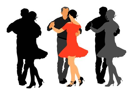 Elegant Latino dancers couple vector silhouette illustration isolated on white background. Mature tango dancing people in ballroom night event. Senior dancer party. Tango dance. Closeness and love. Illustration