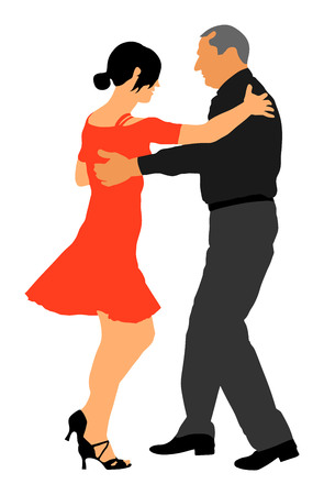 Elegant latino dancers couple vector illustration isolated on white background. Mature tango dancing people in ballroom night event.