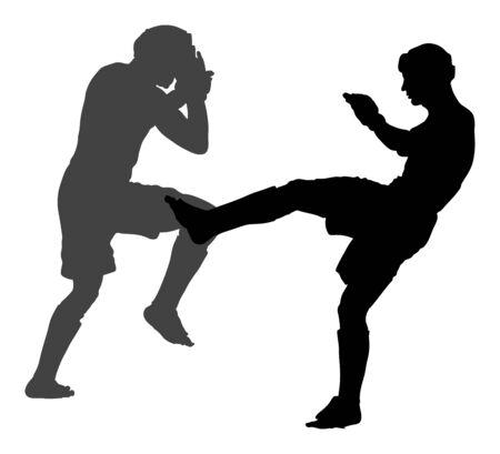 Two mma fighters vector silhouette illustration isolated on white background. Multi martial arts competition. wrestling, ancient skill. Heroes in ring, octagon, battle fight. Fighting in ring.