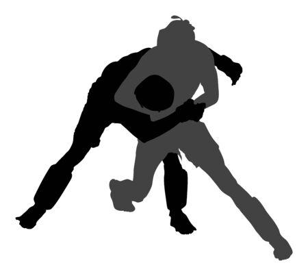 Deux combattants mma vector illustration silhouette isolée sur fond blanc. Compétition multi-arts martiaux. lutte, compétence ancienne. Héros en anneau, octogone, combat de combat. Combats dans le ring.