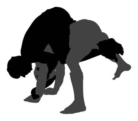 Zwei mma-Kämpfer-Vektorschattenbildillustration lokalisiert auf weißem Hintergrund. Multi-Martial-Arts-Wettbewerb. Ringen, alte Fähigkeit. Helden im Ring, Achteck, Kampfkampf. Kampf im Ring. Vektorgrafik