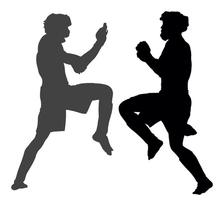 tough: Two mma fighters in ring vector silhouette illustration. Illustration