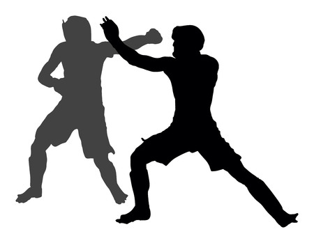 Two mma fighters vector silhouette illustration isolated on white background.