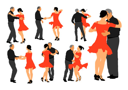 Elegant latino dancers couple vector illustration isolated on white background. Group of mature tango dancing people in ballroom night event.