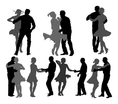 Couple de danseurs latino élégant vector illustration silhouette isolé sur fond blanc. Groupe de tango mature danser les gens dans l'événement de soirée de bal.
