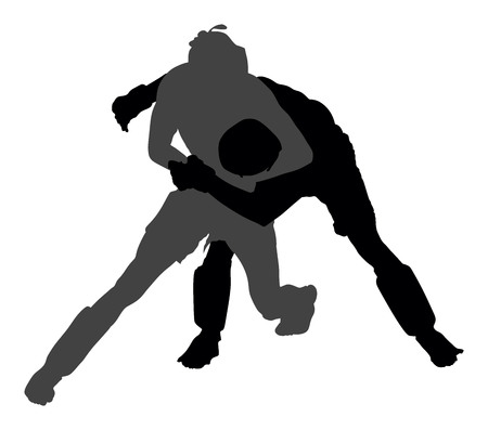 knocking: Two mma fighters in ring vector silhouette illustration. Illustration