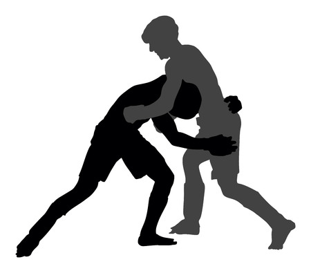 Two mma fighters in ring vector silhouette illustration. Illustration