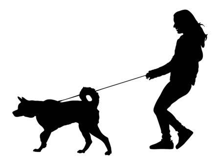 Chica propietaria y perro paseando en la ciudad. Mujer caminando con ilustración de silueta de vector de perro. aislado sobre fondo blanco. Amistad al aire libre con la mascota. Feliz husky. Ilustración de vector