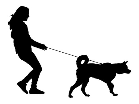 Owner girl and dog walking in the city. Woman walking with dog vector silhouette illustration. isolated on white background. Vektoros illusztráció