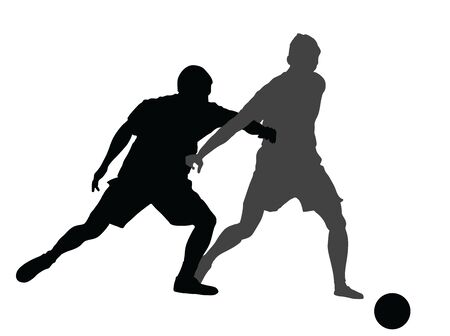 Soccer players in duel vector silhouette  illustration isolated on white background. Football player battle for the ball and position. Attractive sport game, superstars on the scene.