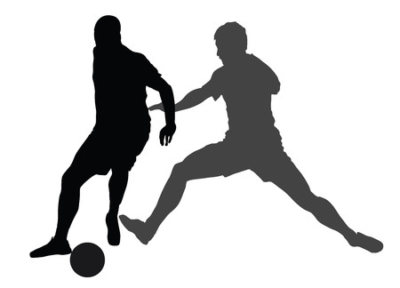 Soccer players in duel vector silhouettes on white background. Football player silhouette cutout outlines. Illustration
