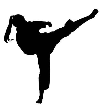 Luchador de mujer de Karate, silueta de vector. Luchadora de Judo. Arte marcial tradicional de Japón. Presentación de defensa personal. En cuerpo sano mente sana. Ilustración de vector