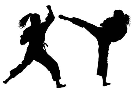 Karate woman fighters, vector silhouette illustration. Judo fighters ladies battle. Japan traditional martial art. Self defense presentation. In healthy body healthy mind. Girl fight symbol.