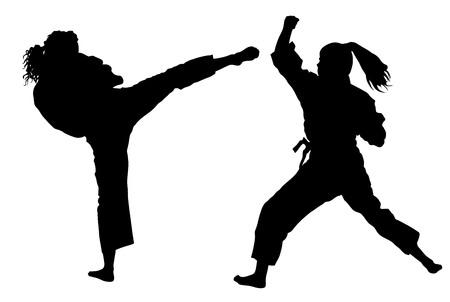 De vechters van de karatevrouw in kimono, vectorsilhouetillustratie. Judo jagers dames vechten. Japan traditionele krijgskunst. Zelfverdediging presentatie. In een gezond lichaam gezonde geest.