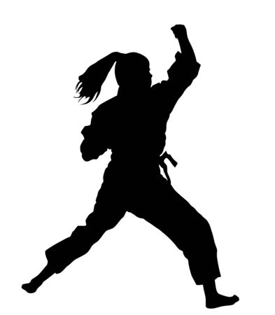 Karate woman fighter, vector silhouette. Judo fighter lady battle. Japan traditional martial art. Self defense presentation. In healthy body healthy mind.