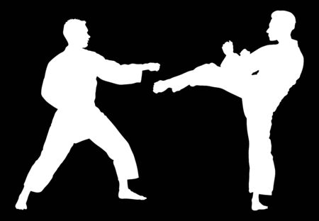 Karate man fighters vector silhouette. Judo fighters battle. Japan traditional martial art. Self defense presentation. In healthy body healthy mind. game sport discipline. Boy fight.