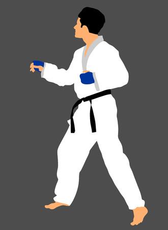 kata: Karate man fighter in kimono, vector illustration. Black belt category. Illustration