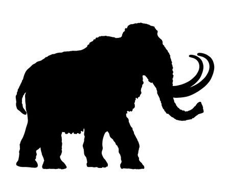 Mammoth vector silhouette illustration isolated on white background. Stock Illustratie