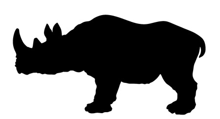 Rhinoceros vector silhouette illustration isolated on white background. Illustration