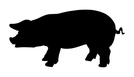 Pig vector silhouette isolated on white background.  イラスト・ベクター素材