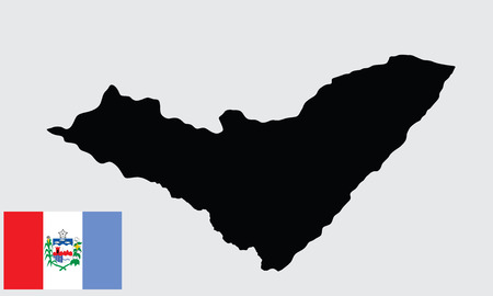 orientate: Alagoas, Brazil, vector map isolated on background. High detailed silhouette illustration. Alagoas flag vector isolated.