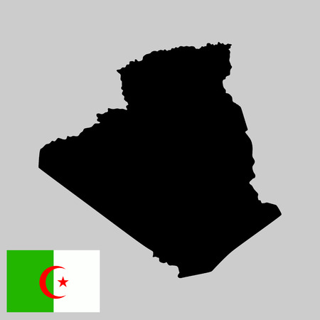 Algeria vector map isolated on background. High detailed silhouette illustration. Aleria flag vector isolated.
