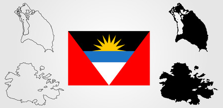 Antiqua and Barbuda vector map, and Antiqua and Barbuda flag vector isolated. Antigua and Barbuda map and flag vector. Illustration