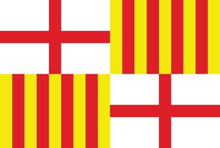 Barcellona città Spagna vettore bandiera del paese. Vettoriali