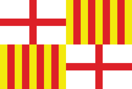catalonia: Barcelona city Spain country flag vector. Illustration