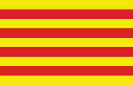 Catalonia flag vector, Accurate dimensions, elements proportions and colors. Original and simple Catalonia flag isolated vector in official colors and Proportion Correctly. Illusztráció