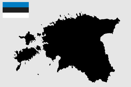 Estonia map vector with Estonia flag vector. High detailed silhouette illustration.