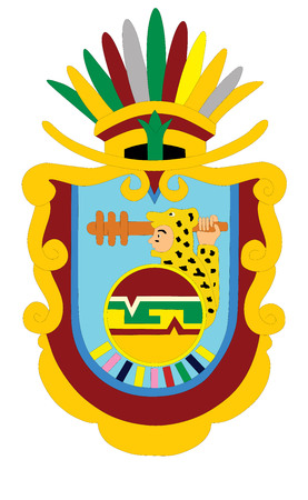 Coat of arms of Mexican state of Guerrero isolated on white background. Vector design.