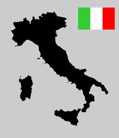 Vector map of Italy, silhouette isolated on background. High detailed outline map. Italy flag vector.