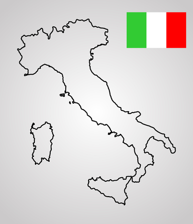 corsica: Editable vector map of Italy. Vector map of Italy isolated on background. High detailed outline map. Contour Ital map and Itali flag vector. Illustration