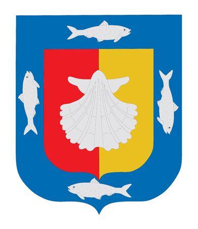 Escudo de armas del estado mexicano de Baja California Sur aislado sobre fondo blanco. Diseño vectorial. Emblema del territorio de la provincia del estado de México.