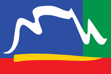 western town: Cape Town city flag vector, South Africa. Illustration