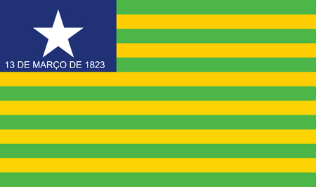 belem: Piaui, Brazil, vector flag isolated on white background.  Original Piaui flag isolated vector in official colors and Proportion Correctly.
